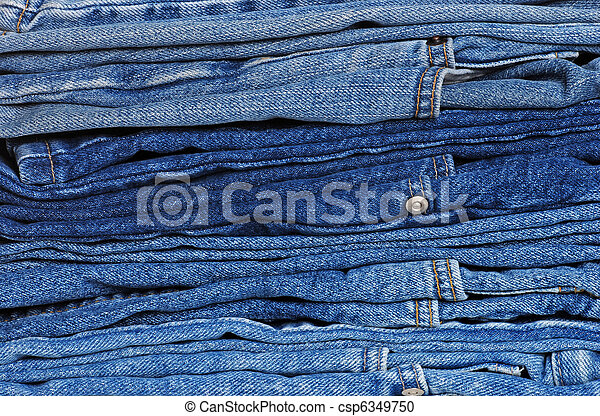 stack of blue jeans - csp6349750
