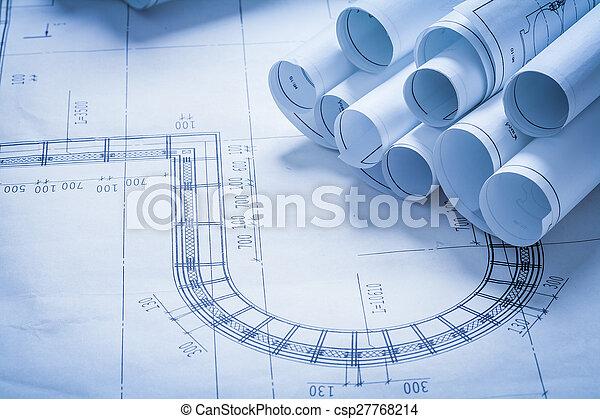Stack of blueprint rolls construction concept stock photography stack of blueprint rolls construction concept csp27768214 malvernweather Gallery