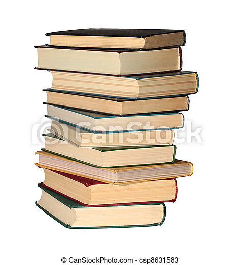 stack of books isolated on a white background - csp8631583