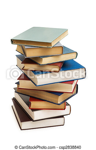 Stack of books isolated on the white - csp2838840