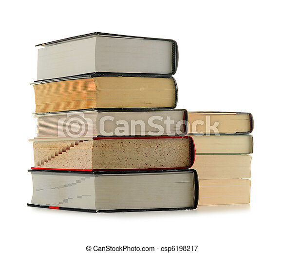 Stack of books isolated on white - csp6198217