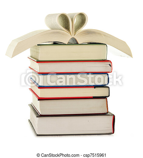 Stack of books isolated on white - csp7515961