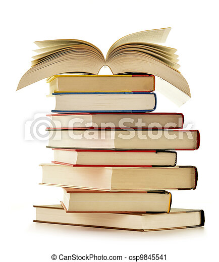 Stack of books isolated on white background - csp9845541