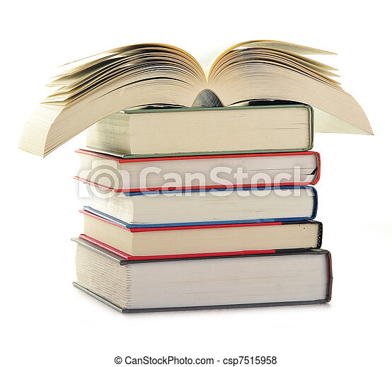 Stack of books isolated on white - csp7515958