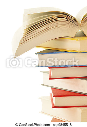 Stack of books isolated on white background - csp9845518