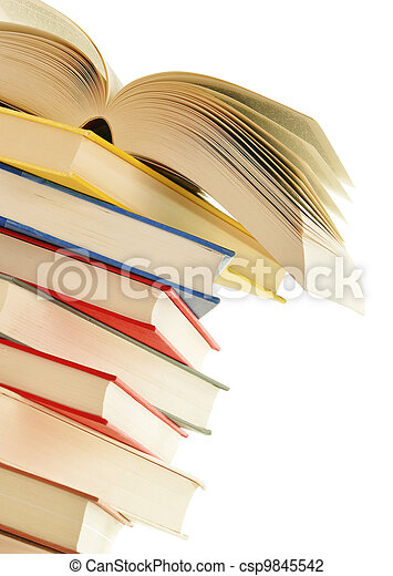 Stack of books isolated on white background - csp9845542