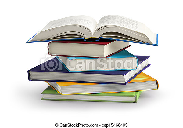stack of books isolated on white background - csp15468495