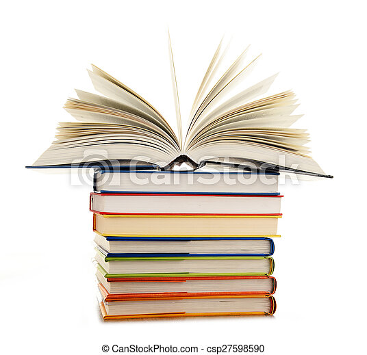 Stack of books isolated on white background - csp27598590