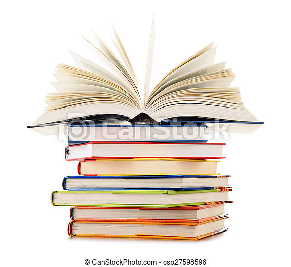 Stack of books isolated on white background - csp27598596