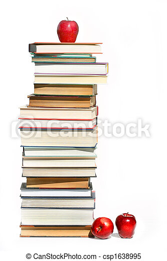 Stack of books on white - csp1638995