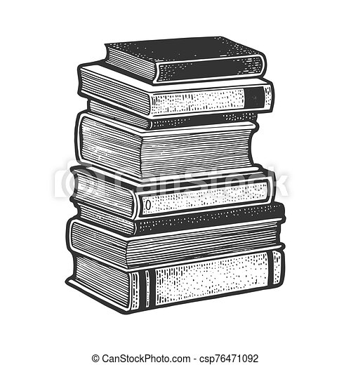 Stack of books sketch engraving vector illustration. T-shirt apparel print design. Scratch board imitation. Black and white hand drawn image. - csp76471092