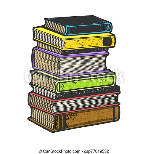 Stack of books sketch engraving vector illustration. T-shirt apparel print design. Scratch board imitation. Black and white hand drawn image. - csp77019532