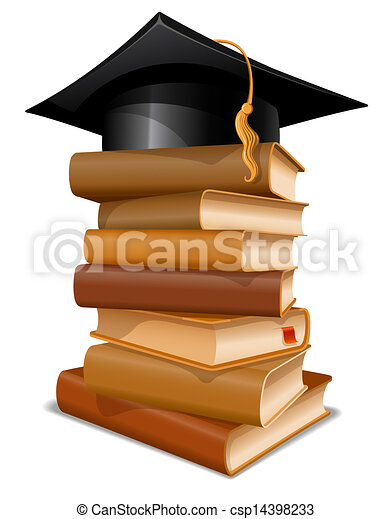 Stack of books with graduation cap - csp14398233
