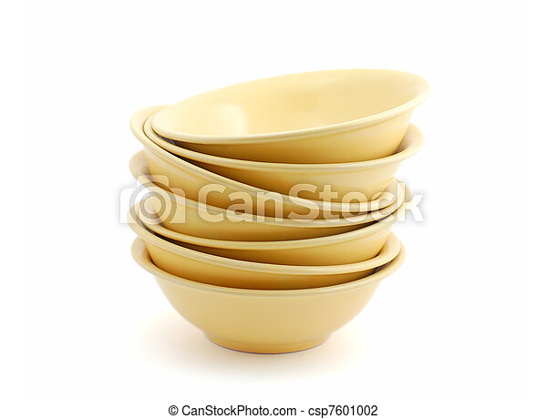 Stack of bowls isolated on white background - csp7601002