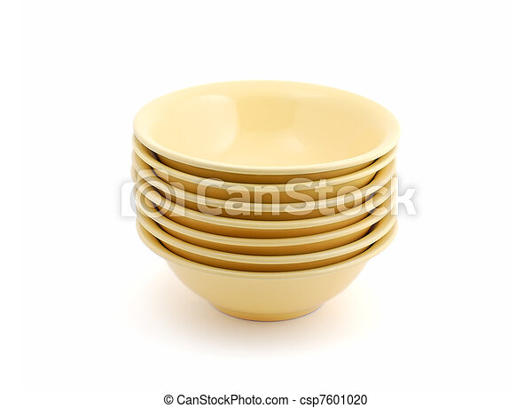 Stack of bowls isolated on white background - csp7601020