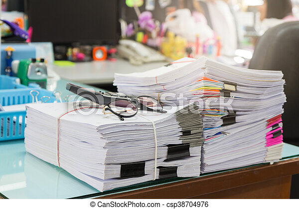 Stack of business papers - csp38704976