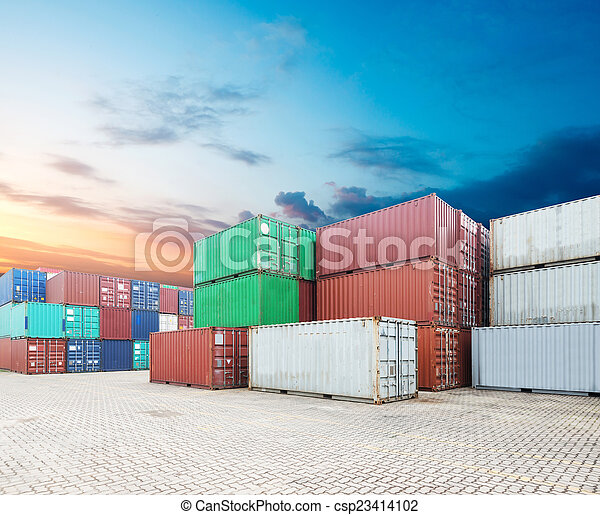 Stack of Cargo Containers at the docks - csp23414102