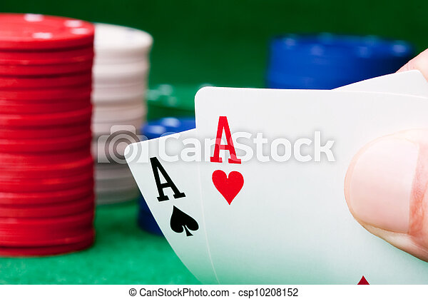 Stack of chips and two aces - csp10208152