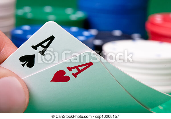 Stack of chips and two aces - csp10208157