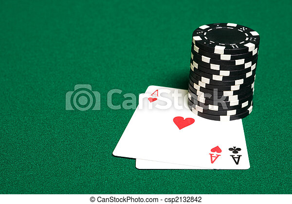 Stack of chips and two aces - csp2132842