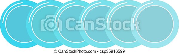 Stack of clean set plates saucers small blue with border kitchen dishware flat vector. - csp35916599