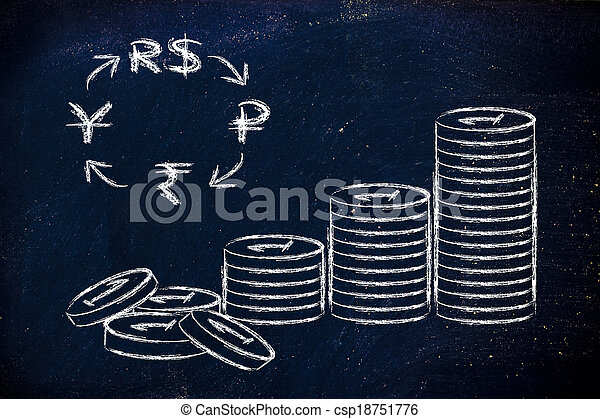 Stack Of Coins And Brics Currency Symbols Exchange Rates Concept