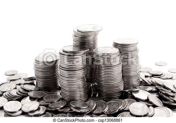 stack of coins isolated on a white - csp13068861
