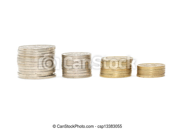 stack of coins isolated on a white background - csp13383055