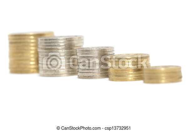 stack of coins isolated on a white background - csp13732951