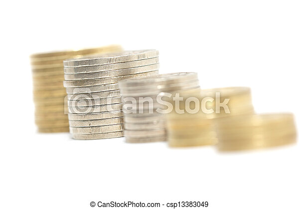 stack of coins isolated on a white background - csp13383049