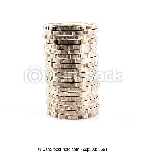 Stack of coins isolated on a white background - csp30353691