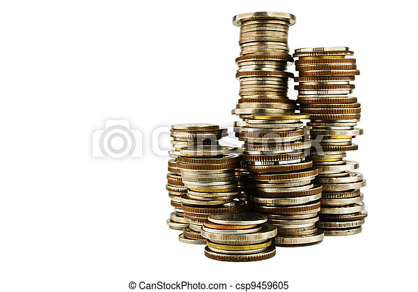 Stack of coins isolated on white background - csp9459605