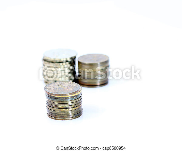 Stack of coins isolated on white background - csp8500954