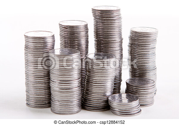 stack of coins on a white background - csp12884152