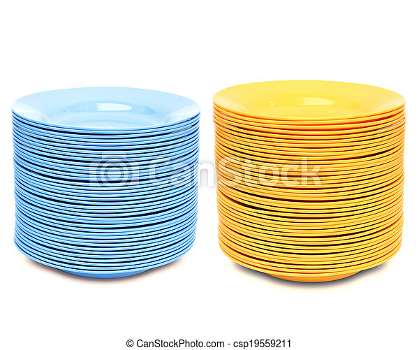 stack of color plate isolated on white background - csp19559211