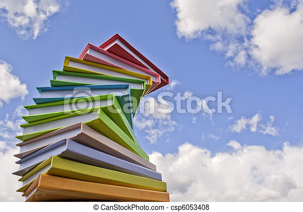 Stack of colored cover books - csp6053408