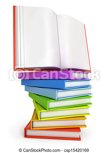 Stack of colorful books with open book on the top. isolated... stock ...