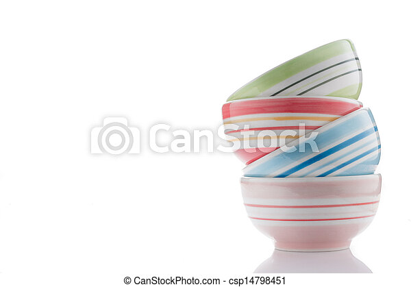 stack of colorful bowls on white - csp14798451