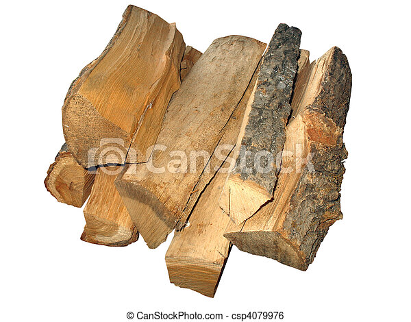 stack of cut logs fire wood isolated over white - csp4079976
