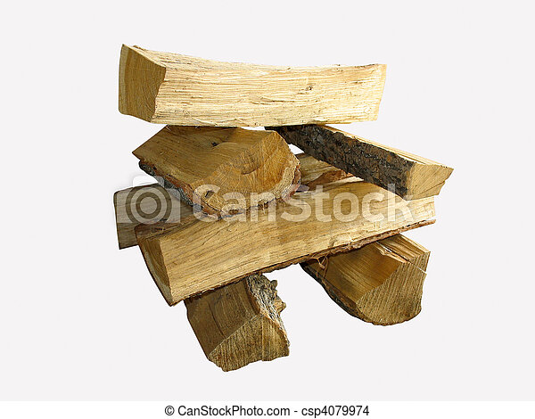 stack of cut logs fire wood isolated over white - csp4079974