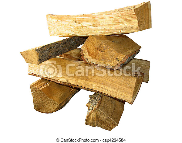 stack of cut logs fire wood isolated over white - csp4234584