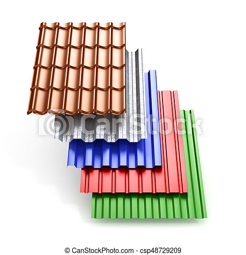 Stack Of Different Types Metal Roof Coating. 3d Illustration   Csp48729209