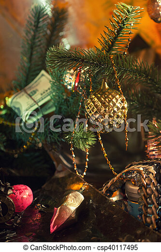 Stack of dollars under the Christmas fir - csp40117495