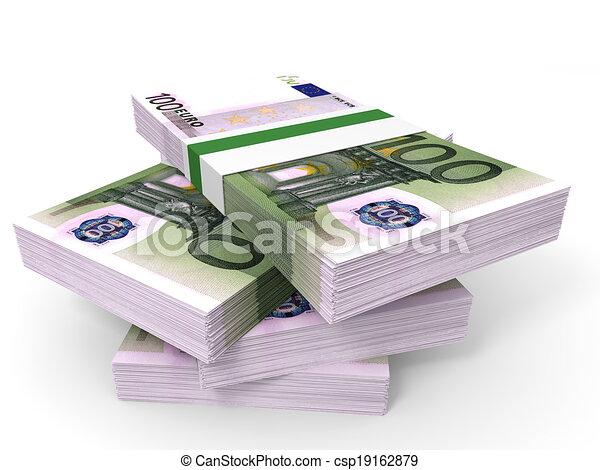 Stack of EURO banknotes. - csp19162879
