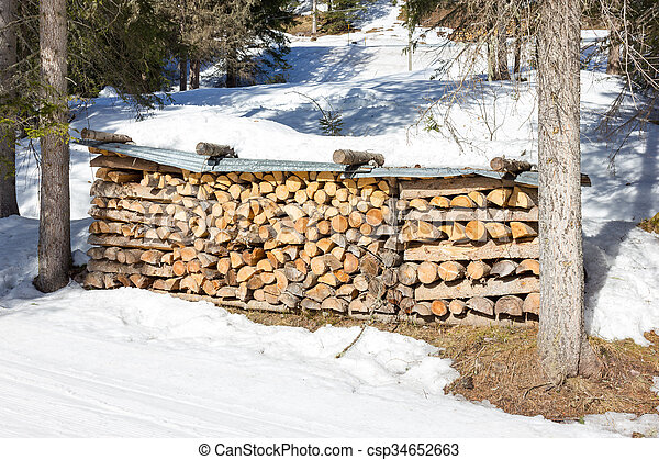 Stack of firewood - csp34652663