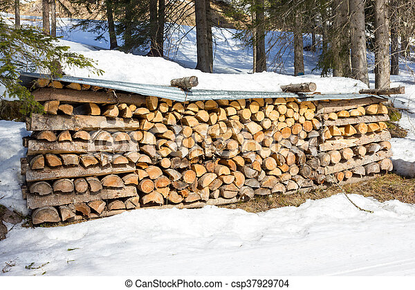 Stack of firewood - csp37929704