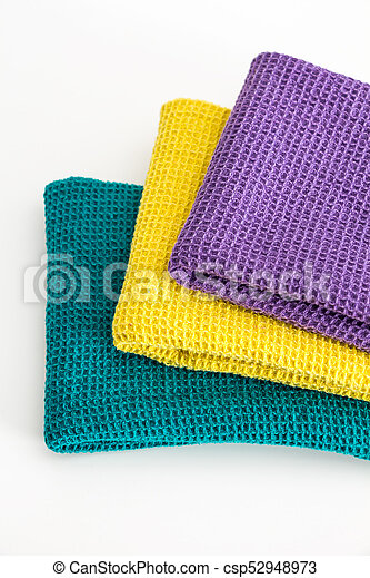 Stack Of Folded Colorful Kitchen Towels On White Closeup Background Canstock