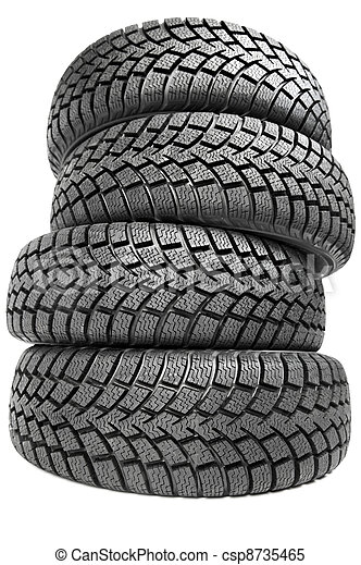 Stack of four car wheel winter tires isolated - csp8735465