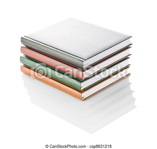 stack of four diaries isolated - csp8631218
