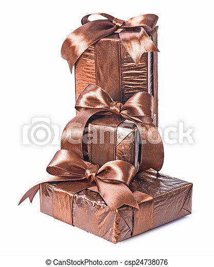 stack of gift boxes isolated - csp24738076